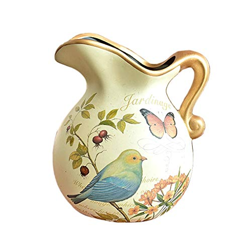 Creative Hand-Painted Ceramic Vase Beige Art Deco Table Vase Creative Dried Flower Arrangement Retro Home Accessories