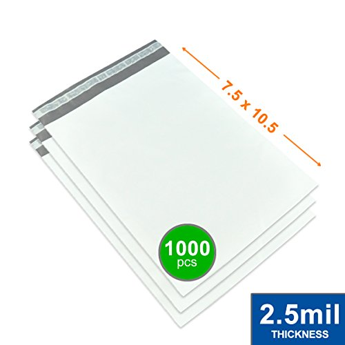 7.5'' x 10.5'' Poly Mailers Shipping Envelopes Bags Waterproof/Self Sealing/2.5 Mil/White/1000 Pack by Impackt