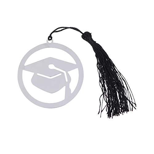 10Pcs Stainless Steel Page Marker Doctoral Cap Shaped Bookmark with Black Tassel Graduation Gifts (Silver)