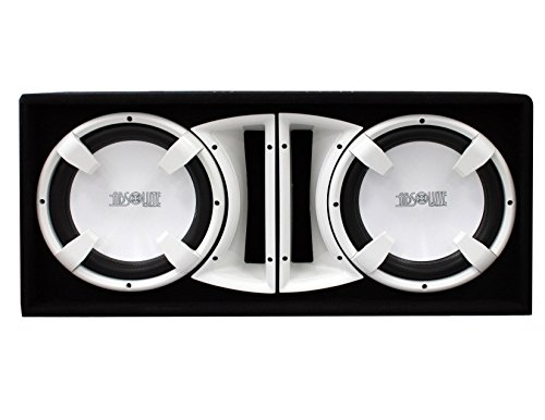 White Dual Subwoofers - Absolute USA FBD12WI 3000 Watts Bass Box Dual 12-Inch Subwoofer Enclosure Box (White)