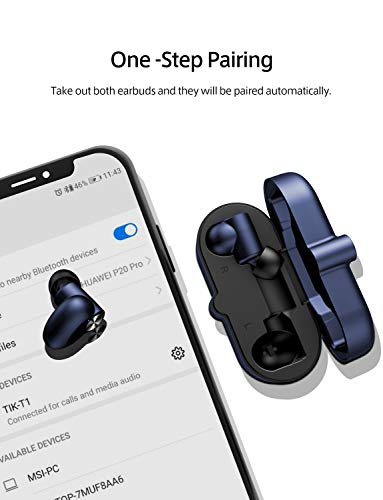 Wireless Earbuds Bluetooth 5.0 Ture Wireless Bluetooth Earbuds Built-in Mic Wireless Headphones Binaural Call, Auto Pairing, Total 20 Hours Playtime, Touch Control, Stereo Hi-Fi Sound Blue