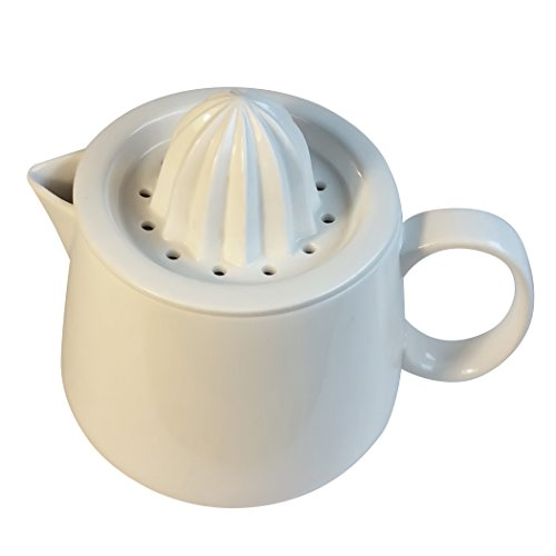 Manual citrus juicer reamer strainer with white ceramic pitcher. Enjoy fresh (Ceramic Lemon)