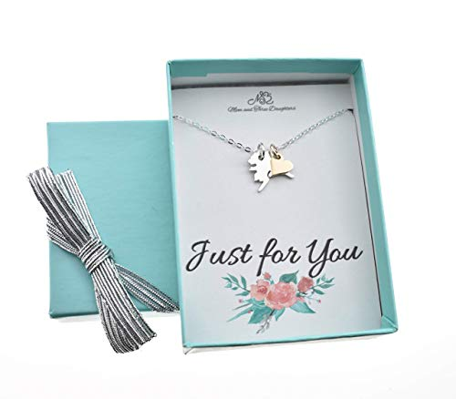 (Alaska charm necklace in sterling silver with natural bronze heart presented on an 18