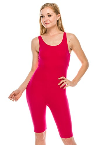 The Classic Womens Catsuit Cotton Stretch Knee Length Active One Piece Footed Jumpsuti (Large, Hot Pink) ()