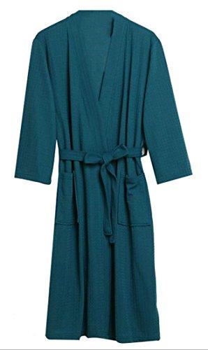 Pandapang Unisex Bathrobe Summer Belted Waffle Lounge Kimono 3/4 Sleeve Thin Robe Blackish Green (Belted Waffle)