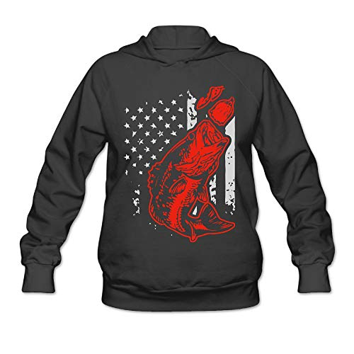 Women's Bass Fishing Lure and American Flag Hoodies, Casual 100% Cotton Blouses Top for Women -