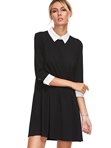Floerns Women's Casual Swing Tshirt Dress Flowy Simple Contrast Collar 3/4 Sleeve Dresses Black S