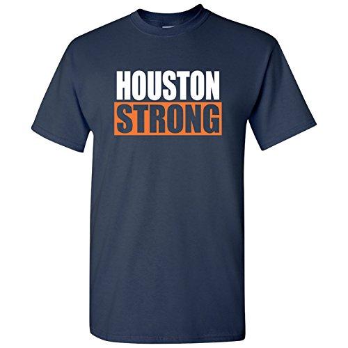 UGP Campus Apparel Houston Strong Basic Cotton T-Shirt - Large - Navy