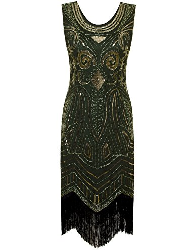 VIJIV Women's 1920's Vintage Gatsby Bead Sequin Art Nouveau Deco Flapper Dress Green Gold -