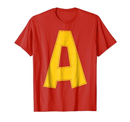 Mens Cute Stitched Letter A T-shirt | Halloween Matching Costume Large Red