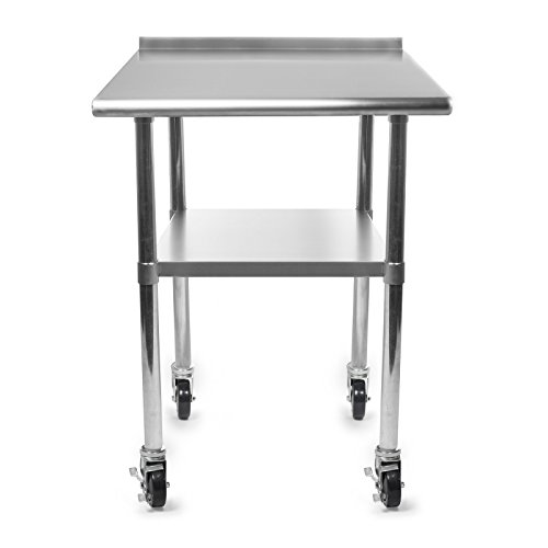 GRIDMANN NSF Stainless Steel Commercial Kitchen Prep & Work Table w/Backsplash Plus 4 Casters (Wheels) - 36 in. x 24 in.
