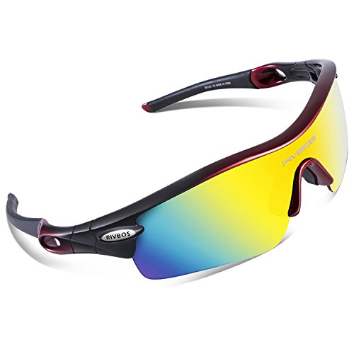 RIVBOS 805 POLARIZED Sports Sunglasses with 5 Set Interchangeable Lenses for Cycling - On Deals Sunglasses Prescription Best