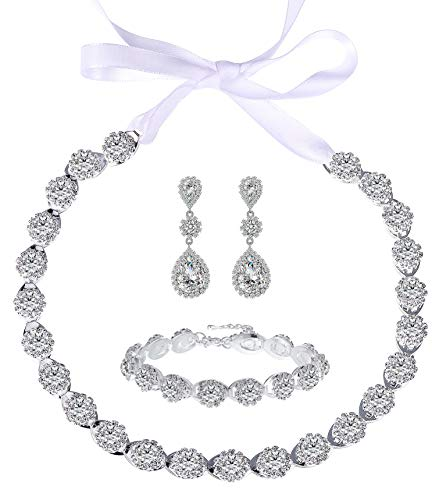 (Paxuan Multi-Purpose Silver Crystal Rhinestone Wedding Bridal Choker Necklace Earrings Jewelry Set for Wedding Brides Bridesmaids (Necklace + Earrings +)