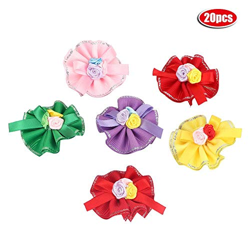 - 20Pcs Pet Bowknot Hair Rope Puppy Dog Cat Petal Flowers Design Rubber Bands Lovely Pet Topknot Pet Grooming Headwear Pet Hair Bows Accessories