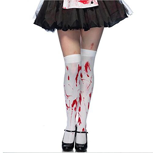 [Halloween Bloody Stained White Stockings and Skeleton Over Knee Socks (Blood Stockings)] (Bloody Nurse Costume)