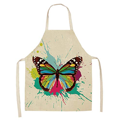 - 1Pcs Butterfly Printed Kitchen Aprons for Women Cotton Linen Home Cooking Baking Waist Bib Pinafore Cleaning Tools 5365Cm A1016,D