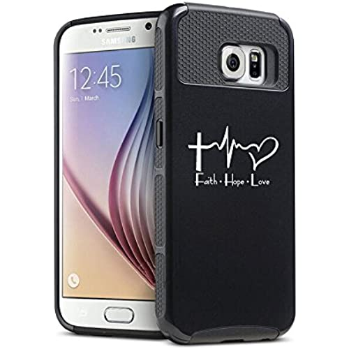 Samsung Galaxy S7 Edge Shockproof Impact Hard Case Cover Faith Hope Love EKG Christian (Black ) Sales