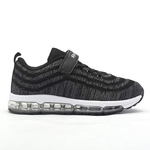 JARLIF Kids Air Cushion Running Shoes Tennis Trail Athletic Sports Sneakers for Boys & Girls (7 M US Big Kid,Black) ()