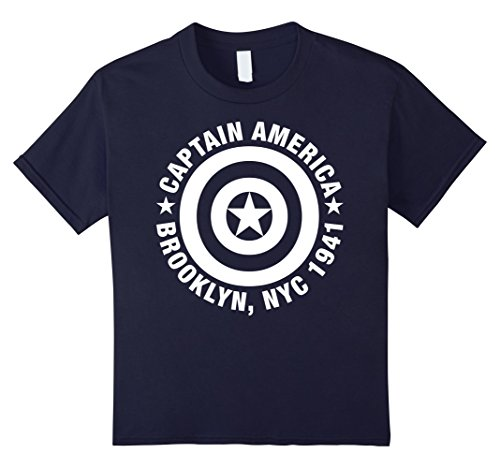 Kids Marvel Captain America Brooklyn NYC 1941 Shield T-Shirt 12 Navy