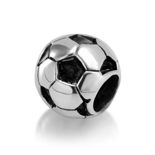925 Sterling Silver Soccer Football Bead Charm Fit Major Brand Bracelet - Football Charm Sterling Silver Jewelry