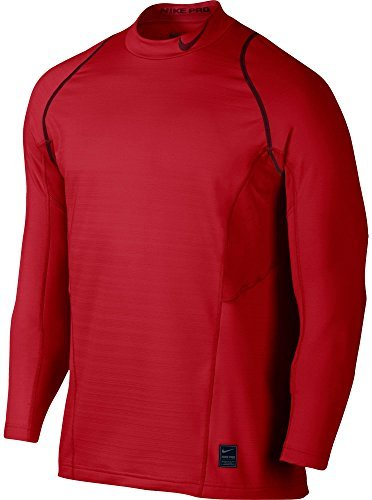 Nike Mens Pro Hyperwarm Fitted Long Sleeve Shirt(Univers Red/Reflec Silv, M)