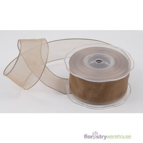 FloristryWarehouse Organza Ribbon 1.5 inch x 22 yards Wired Taupe Mushroom