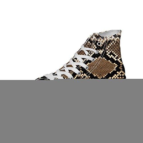 Pour U Conceptions Élégant Imprimé Léopard Womens Haut Haut Lace Up Toile Fashion Sneaker Brun 2