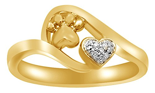 White Natural Diamond Accent Paw Print Heart Ring in 14k Gold Over Sterling -