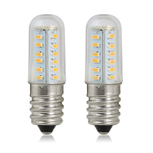 (E14 LED Light Bulb, E14 Candelabra Base, Mini 2W Equivalent to 10W E14 Halogen Bulb, AC 110V-120V Warm White 2700K-3000K Light Bulbs for Microwave Oven, Cooker Hood, Refrigerator Lighting (2 Pack) )