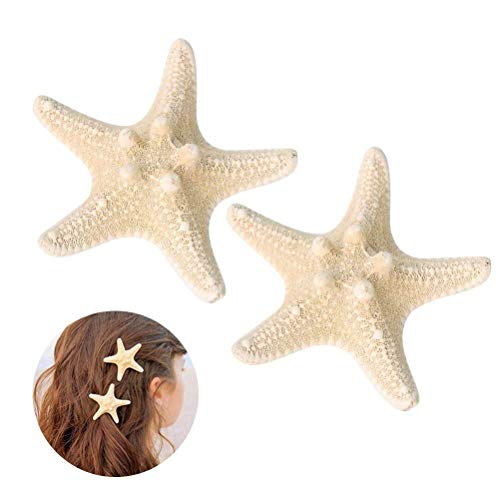 Frcolor 2Pcs Starfish Hair Clip Handmade Natural