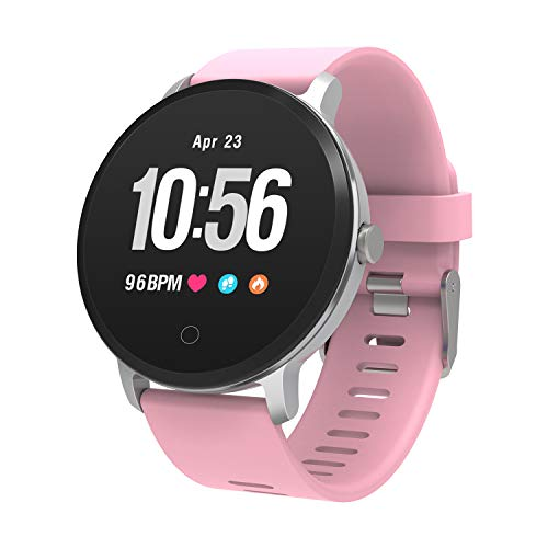 YoYoFit Smart Fitness Watch with Heart Rate Monitor, Waterproof Fitness Activity Tracker Step Counter with Music Player Control, Customized Face Look GPS Pedometer Watch for Women - Player Ladies Watch Pink