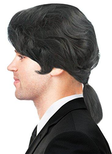 [Ponytail Wig Vincent Vega Wig Vincent Vega Costume Gaston Wig Colonial Wig Black] (Pulp Fiction Vincent Vega Costume)
