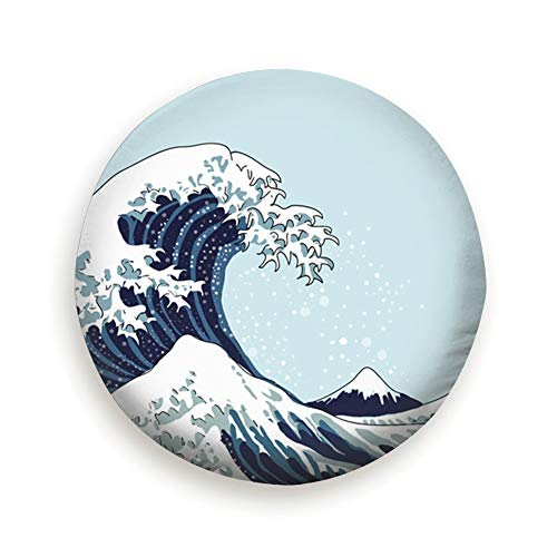 Spare Tire Cover Wave Japanese Motif Japan Nature Parks Outdoor Polyester Water Proof Dust-Proof Universal Spare Wheel Tire Cover Fit for Jeep,Trailer, Rv, SUV and Many Vehicle