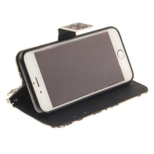 Sunroyal ® para iPhone 6 Iphone 6S 4.7 Funda Ultra Slim PU Cuero Flip Caso Leather Case Wallet Card Cubierta Caja Protectora Soporte [Billetera con Tapa para Tarjetas] Carcasa con Stand Función y Imá Size02