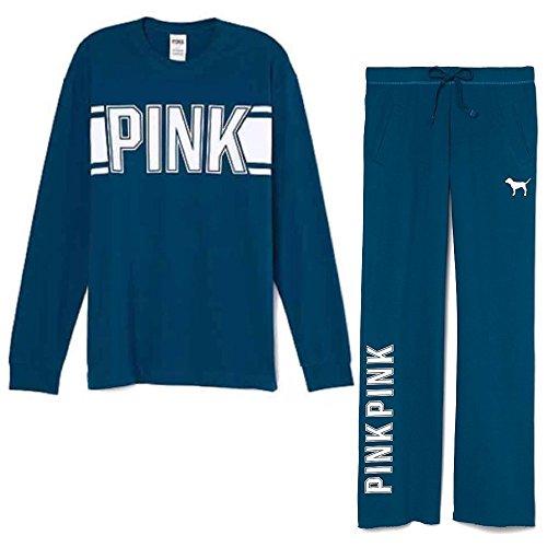 Victoria's Secret Pink Set: Campus Tee & Boyfriend Pant, Teal/White, Large by Victoria's Secret