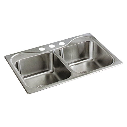 Equal Kitchen Bowl Sink (STERLING 11400-3-NA Southhaven 33-inch by 22-inch Top-mount Double Equal Bowl Kitchen Sink, Stainless Steel)