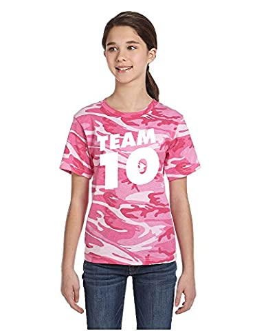 Allntrends Kids Youth T Shirt Team 10 Camouflage Tee Cool Trendy Top (M, Pink Woodland) - Woodland Camouflage Tee T-shirt Top
