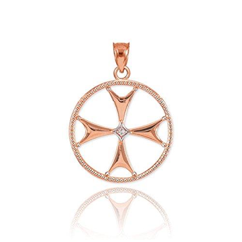 Religieux Bijoux par FDJ femmes de 10K or rose ouvert Design diamond-accented Pendentif Breloque Croix de Malte
