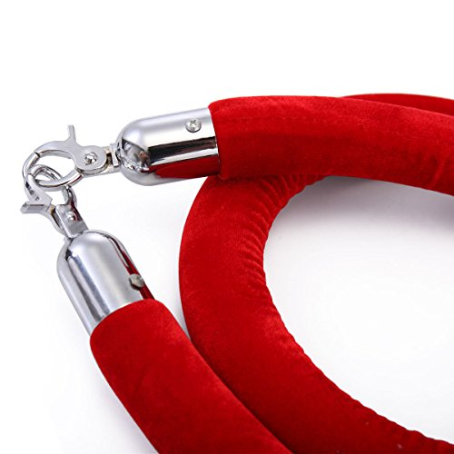 JAXPETY Red Velvet Barrier Rope with Sliver Color Plated Hooks Crowd Control Stanchion New by JAXPETY (Image #5)
