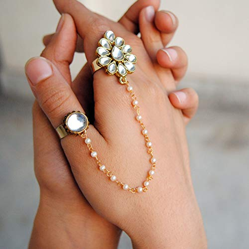 (White Round Shape Kundan 2 Finger Ring Linked With Pearl Chain. Adjustable Double Rings. Teardrop White Kundan Flower. Ethnic Fashion Jewellery. Contemporary, Handmade Unique Traditional)