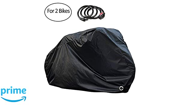 ... PAMASE Waterproof Bicycle Cover for 2 Bikes Outdoor Storage with Free Lock