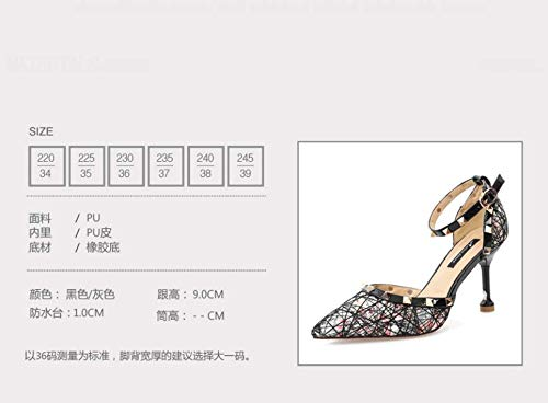 Sexy High shoes And 9Cm Black Sharp In Simple Fashion Match Fashion Shoes Heels Rivets GTVERNH women's Thin Summer Colors Women'S Eqzw8