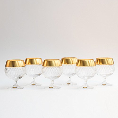 Crystal Decor Exclusive Brandy Cognac Glasses l Set of 6 glasses l 8.4oz / 250ml each / Hand Carved Gold Rim Stemware by Crystalex