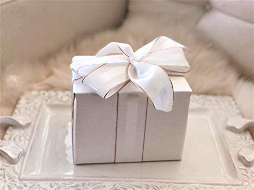 Winter White & Rose Gold Grosgrain Ribbon 1 1/2 inch, 30 Yards, Double Face, 1.5 Inch, Premium Fabric Ribbon with Metal Trim for Wedding Gifts, Baby Showers, Crafts, Millenary Hat Projects]()