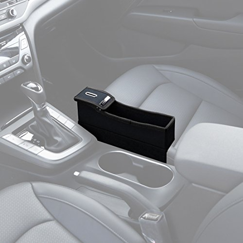 KMMOTORS Coin Side Pocket, Console Side Pocket, Car Organizer (Black without Cupholder) (Holder Auto Coin)