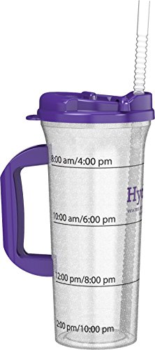 Hydr-8 Purple 32ounce Water Bottle with Swivel Lid (Water Cups With Measurements)