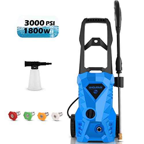 WHOLESUN 3000 PSI Pressure Washer Electric 1.8GPM High Powerful Power Washer 14.5-Amp for Home Use with Hose, Gun, and 4 Adjustable Nozzle, Blue