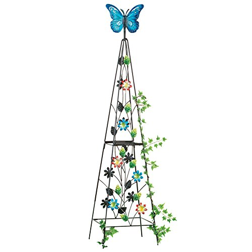 Butterfly Spinner Plant Trellis Garden Art Sculpture Decoration, 41-1/2