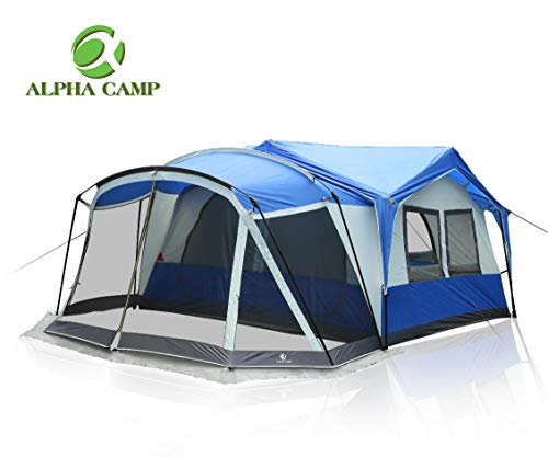 ALPHA CAMP 10-12 Person Tent with Screen Room Cabin Tent Design – 19′ x 12′