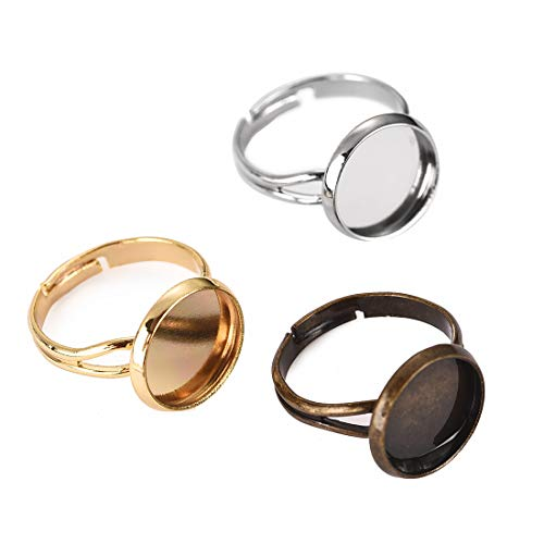 DROLE Ring Blanks with 12mm Adjustable Ring Bases Antique Silver Antique Bronze Gold Plated Metal Round Finger Ring Trays 30Pcs